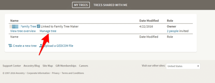 Manage Trees Ancestry