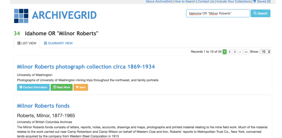 Search results on ArchiveGrid