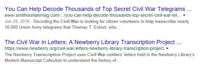 Volunteering Your Genealogy Skills, Google search results for transcribing + Civil War