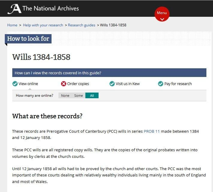 British, Irish, Scottish, Welsh Genealogy Research Guide, The National Archives wills