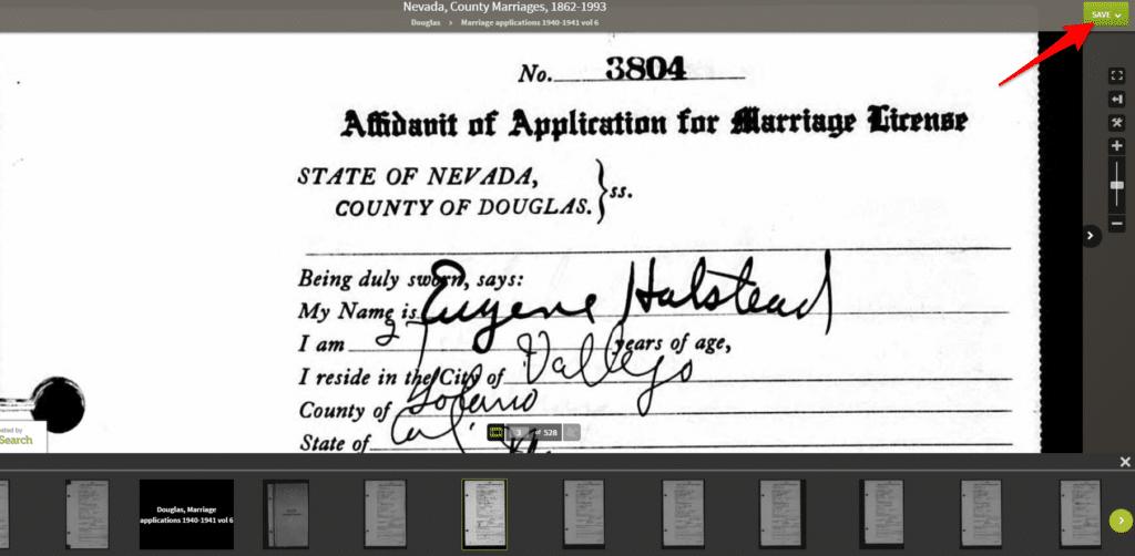 Nevada Marriage Record