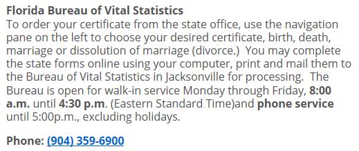 Florida Bureau of Vital Statistics