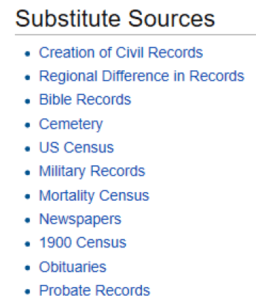FamilySearch Substitute Vital Record Sources