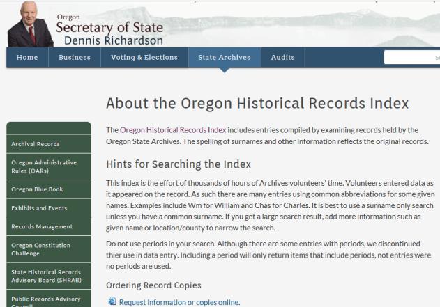 Oregon Historical Records Index