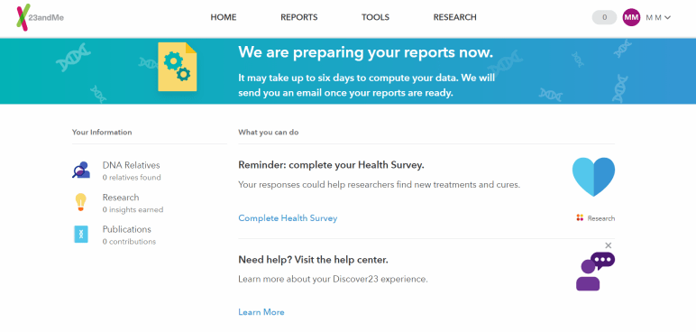 23andMe Preparing Your Free DNA Reports