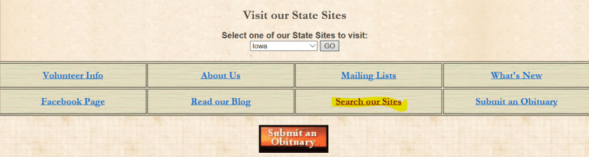 Hospital records for genealogy research, Genealogy Trails main menu