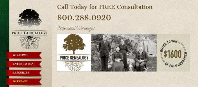 Indentured Servant Ancestors, Price Genealogy
