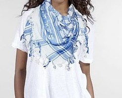 "blue&white keffiyeh, with a David star and inscription ""Am Israel Haï"""