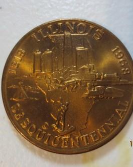 BU Commemorative 1818-1968 Bronze State Illinois Sesquicentennial medal