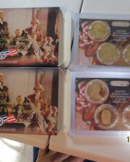 2007 S  2009 S Presidential Proof Dollar Sets with boxes & coa