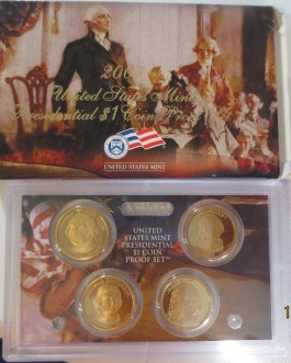 2007 S Presidential Proof Dollar Set with boxes & coa
