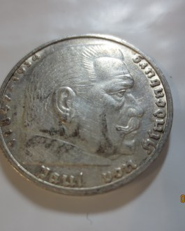 Germany 1938j Key Mint Mark Silver 5 Mark Hindenburg Au condition