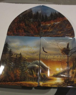 4 piece set w Display Terry Redlin On Wings Faith Bradford exchange plates nip