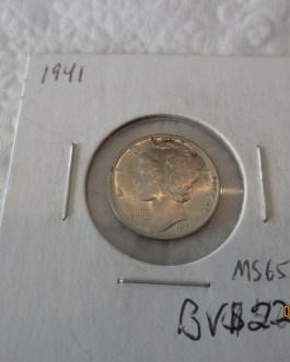 1941 P Mercury Dime Brilliant Uncirculated 90% Silver Coin BU FSB Fully Split