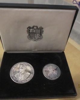 ANDORRA 1963 50 25 DINERS BISHOP BENLLOCH PROOF SILVER WORLD COIN SET