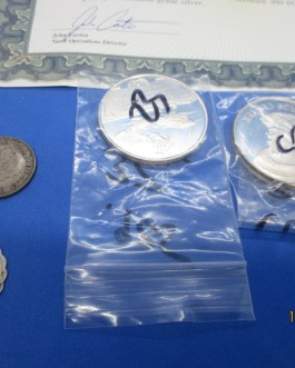 3.5+ Oz silver coins medals bars & more