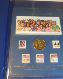 United we stand 9/11 WTC Memorial set w bronze medal stamps & Print