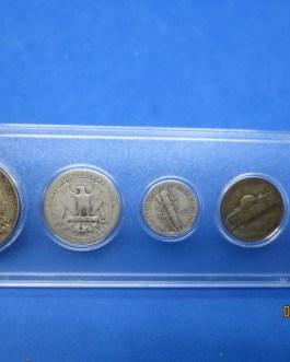 1944 Silver year set Walking Half Washington Quarter Mercury dime & more b