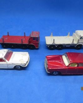4 VINTAGE Matchbox diecast cars girder truck ergo cab 24 rolls royce #8 mustang