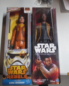 2 piece lot Star Wars 12″ figures Ezra Bridger/Lightsaber & Finn Jakku NIB