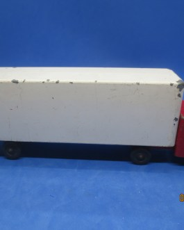 Vintage Ralstoy Diecast Toys Red Cab White container  Semi Truck Trailer