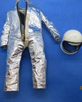 VINTAGE GI JOE 3 ZIPPER SPACE SUIT W FLAG ARM PATCH & HARNESS STRAPS Helmet