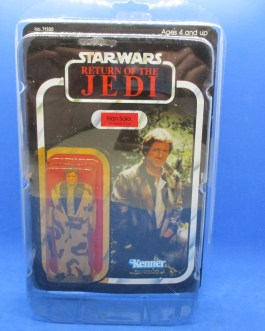 1983 Vintage Star Wars ROTJ Han Solo Trench Coat Camo Lapel 77 Back Moc Sealed