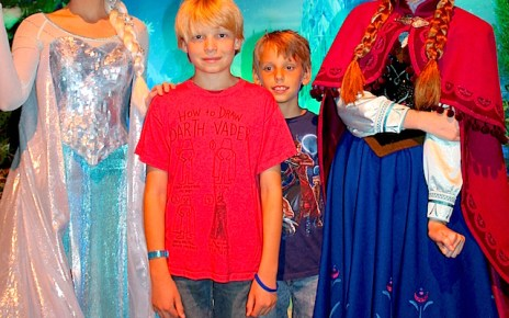 Frozen's Elsa, Anna, Atticus, and Zane