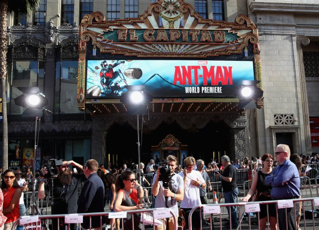 """LOS ANGELES, CA - JUNE 29: A view of the atmosphere at the world premiere of Marvel's """"Ant-Man"""" at The Dolby Theatre on June 29, 2015 in Los Angeles, California. (Photo by Jesse Grant/Getty Images for Disney)"""