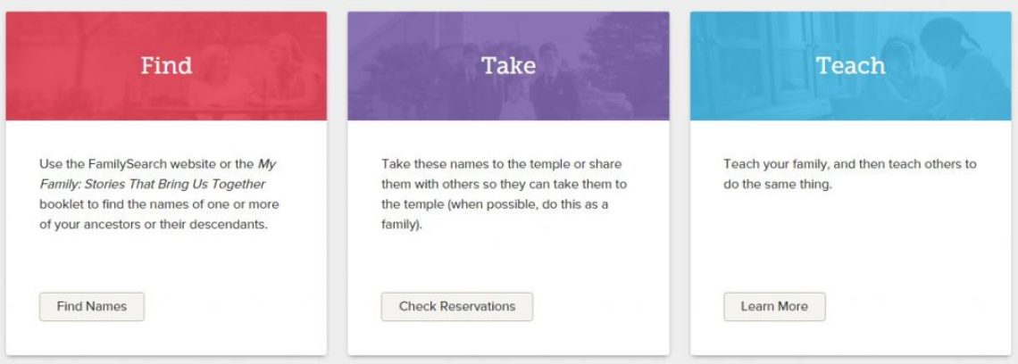 find take teach boxes at familysearch