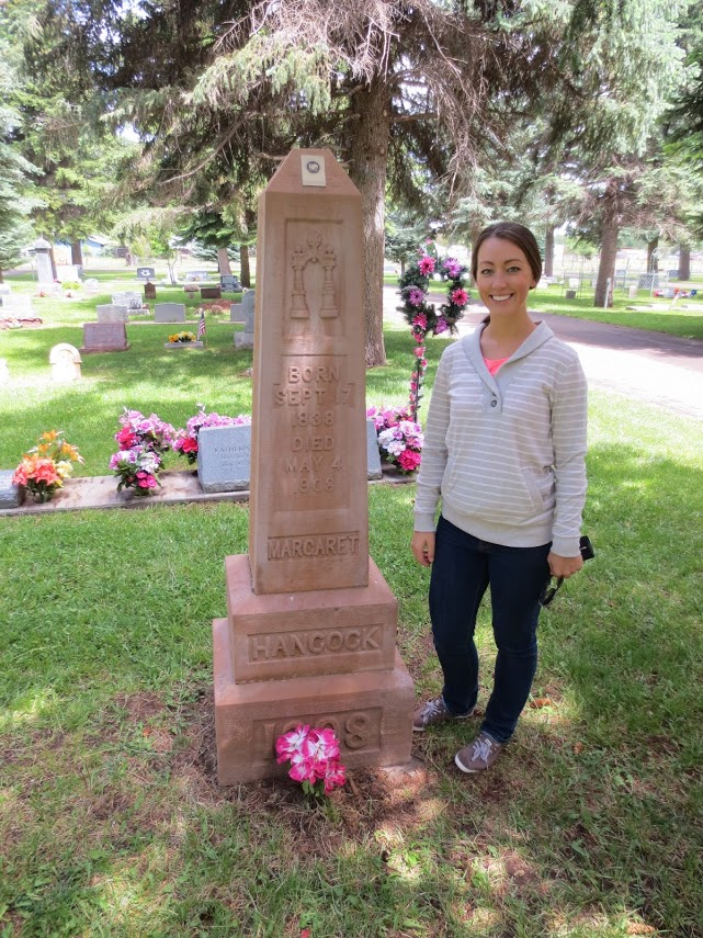 Nicole at Margaret's memorial in the Taylor, Arizona Cemetery