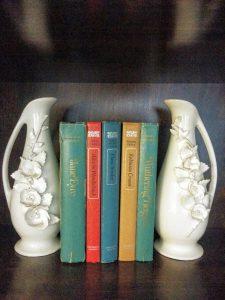 White vases and books
