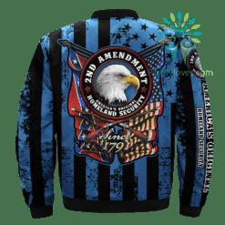 familyloves.com 2ND AMENDMENT, AMERICA'S ORIGINAL, HOMELAND SECURITY over print Bomber jacket %tag