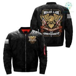 familyloves.com 2nd amendment come and take it over print Bomber jacket %tag