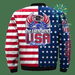 familyloves.com 2nd AMENDMENT, USA RACING over print Bomber jacket %tag