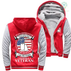 familyloves.com The devil whispered in my ear... I am the storm Female Veteran Woman Hoodie %tag