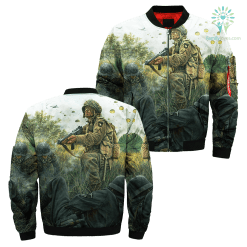 familyloves.com 101st Airborne Infantry Over Print Jacket %tag