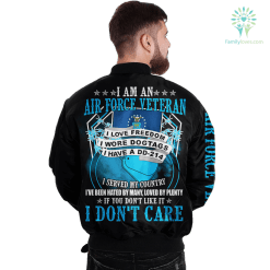 familyloves.com I Am An Air force Veteran I Love Freedom I Wore Dogtags I Have A DD-214 Over Print Jacket %tag