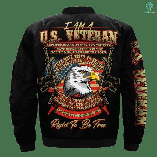 I Am A U.S. Veteran Over Print Jacket %tag familyloves.com