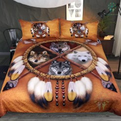 4 Wolves Dreamcatcher Bedding Native American Golden Brown Indian Duvet Cover Vintage Feather Bedding Cover Set %tag familyloves.com