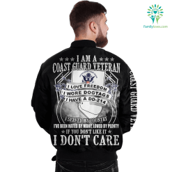 familyloves.com I Am A Coast guard Veteran I Love Freedom I Wore Dogtags I Have A DD-214 Over Print Jacket %tag