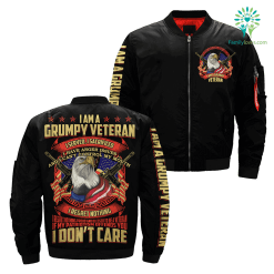 familyloves.com I Am A Grumpy Veteran I Served, I Sacrificed Over Print Jacket %tag