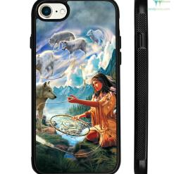 5D Diamond Painting Native Woman with Dreamcatcher and Wolves Samsung, iPhone case %tag familyloves.com