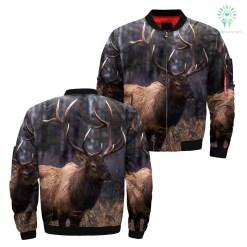 3D deer hunting over print Jacket %tag familyloves.com