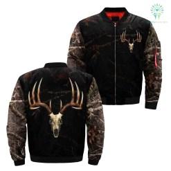 Camo Deer Skull Black Over Print Jacket %tag familyloves.com