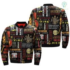 familyloves.com AMERICAN FIREFIGHTER over print Bomber jacket %tag