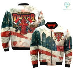 familyloves.com AMERICAN FIREFIGHTER VOLUNTEER-FIRE-DEPT over print Bomber jacket %tag