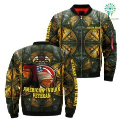 American indian veteran over print bomber jacket %tag familyloves.com