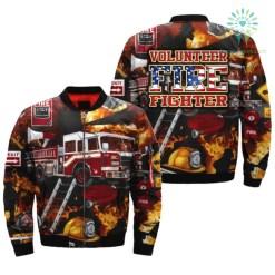 familyloves.com AMERICAN VOLUNTEER FIREFIGHTER over print Bomber jacket %tag