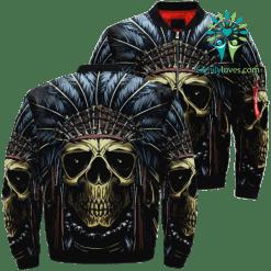 familyloves.com Skull Native American Over Print Jacket %tag